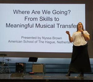 Nyssa Brown about Keynote: One of my greatest passions is to inspire music educators to think more broadly and more inclusively. As a keynote speaker, I aspire to frame a conference and/or meeting with big-picture, connective, challenging, and inspiring questions. By incorporating the theme of YOUR conference or workshop into our planning, I can deliver a keynote that speaks directly to the needs and challenges of your audience.